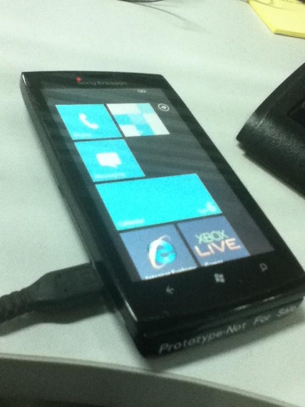 The Sony Ericsson Windows Phone 7 device prototype