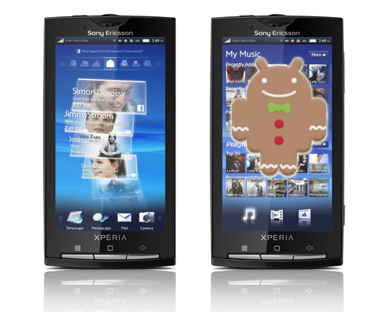 Xperia X10 announces Android 2.3 Gingerbread