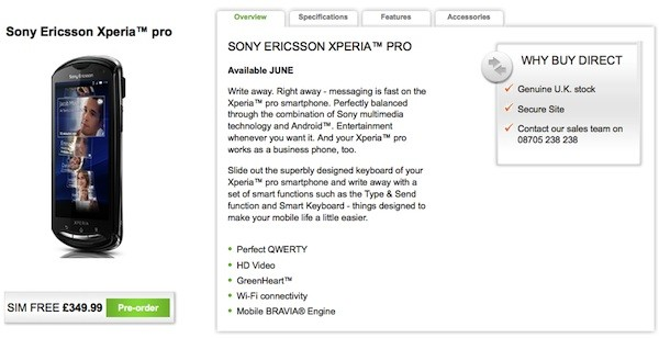 Sony Ericsson Xperia Pro Available on Pre-Order in the UK