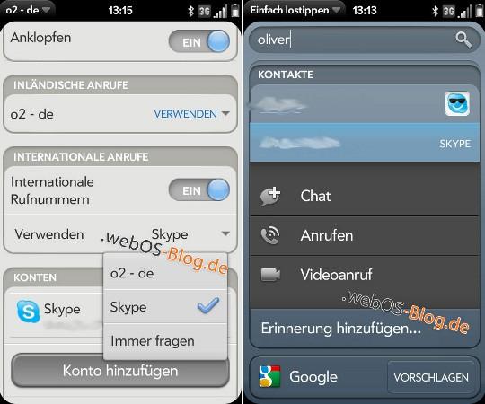 WebOS Skype Integration