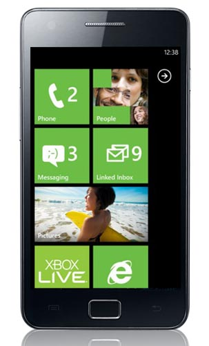 Windows Phone 7 running on the Galaxy S2