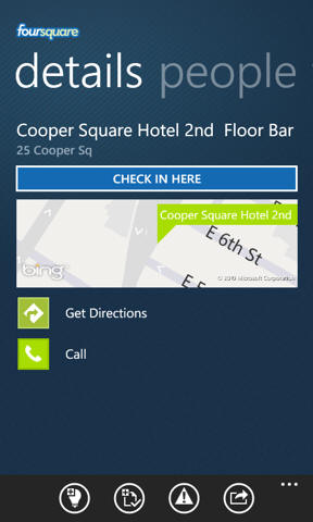 Foursquare windows phone 7