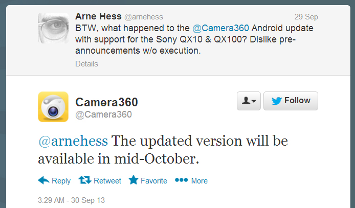 Camera360 update in mid-October 2013