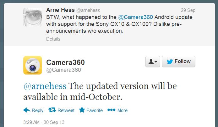 Camera360 update in mid-October 2013